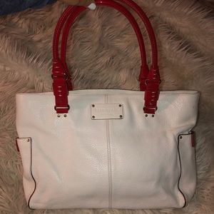 great condition white/red kate spade satchel